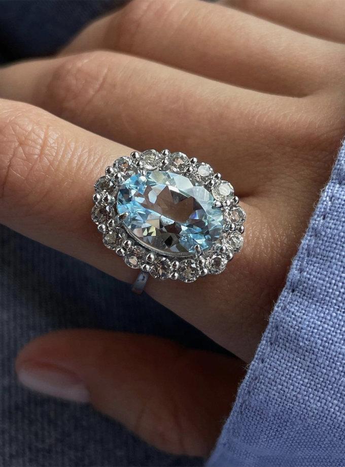 Срібний перстень з блакитним топазом BRND_КГТОС0101165, фото 1 - в интернет магазине KAPSULA