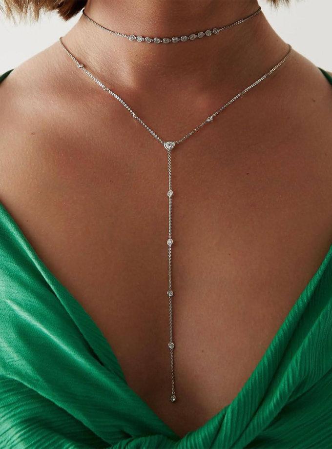 Срібне кол'є-краватка з фіанітами BRND_N6610109, фото 1 - в интернет магазине KAPSULA