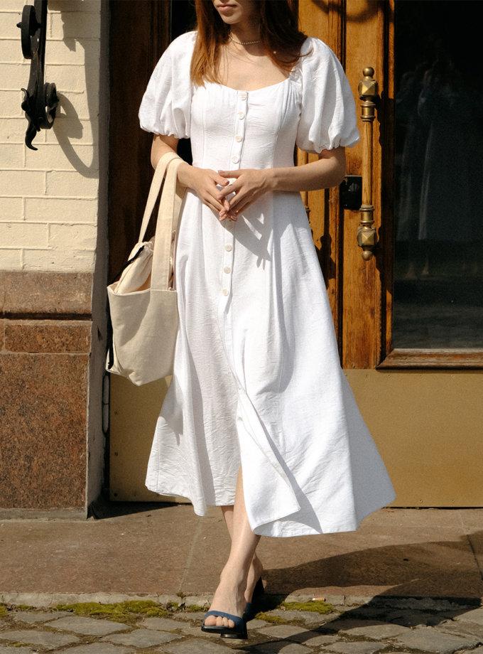 Платье миди из льна MSY_linen_midi_ivory, фото 1 - в интернет магазине KAPSULA