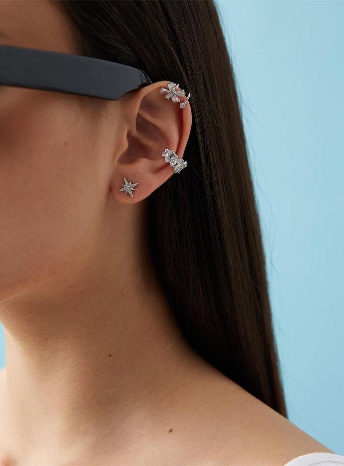 Серебряные серьги-пусеты с фианитами в форме звезды BRND_E66130107, фото 1 - в интернет магазине KAPSULA