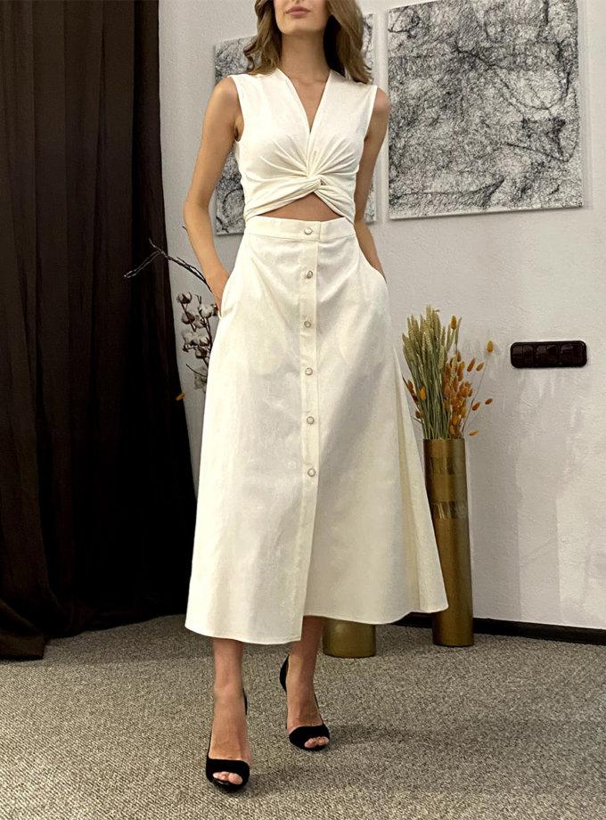 Хлопковое платье миди с завязками на талии LUSSO_SS21_13, фото 1 - в интернет магазине KAPSULA