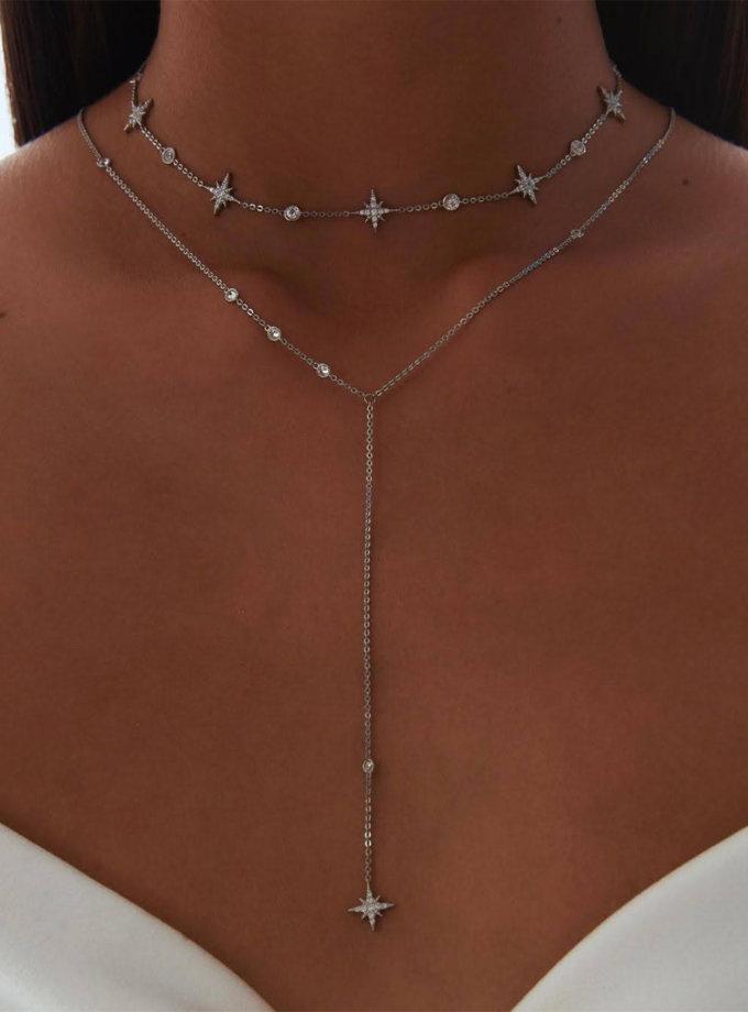 Срібне кол'є-краватка з фіанітами і зіркою BRND_N6610128, фото 1 - в интернет магазине KAPSULA