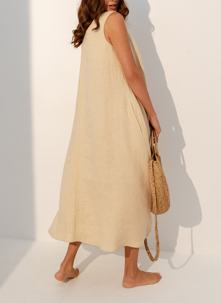 Льняное платье свободного кроя SGL_DT_BEIGE_1, фото 1 - в интернет магазине KAPSULA