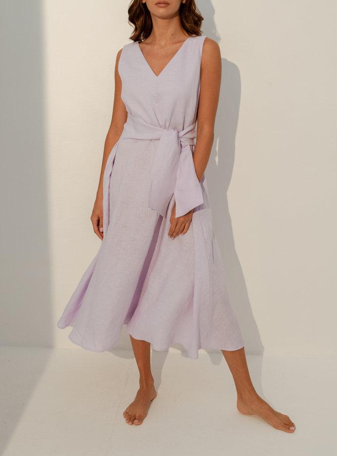 Льняное платье свободного кроя SGL_DT_LIGHTLAVENDER_2, фото 1 - в интернет магазине KAPSULA