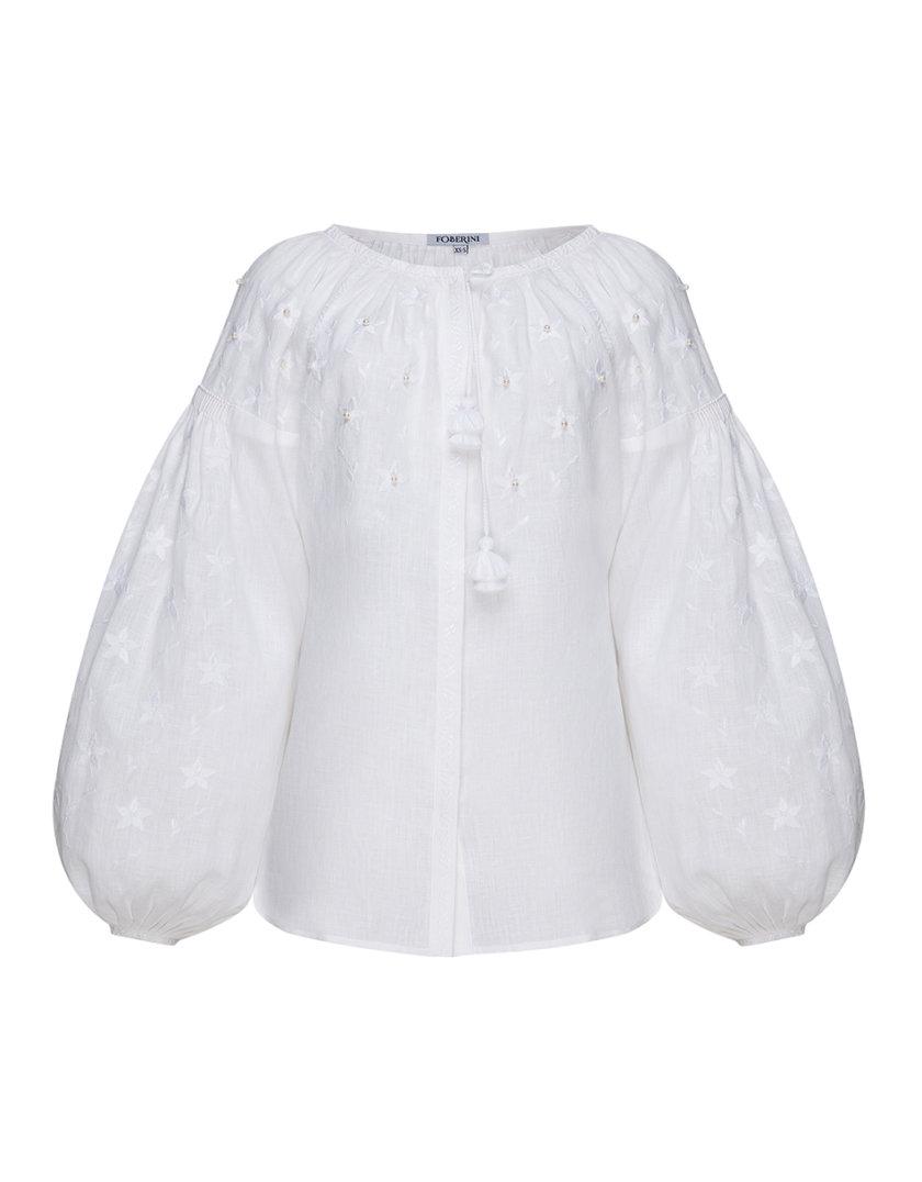Блуза с вышивкой Жемчуг FOBERI_SS19026, фото 1 - в интернет магазине KAPSULA