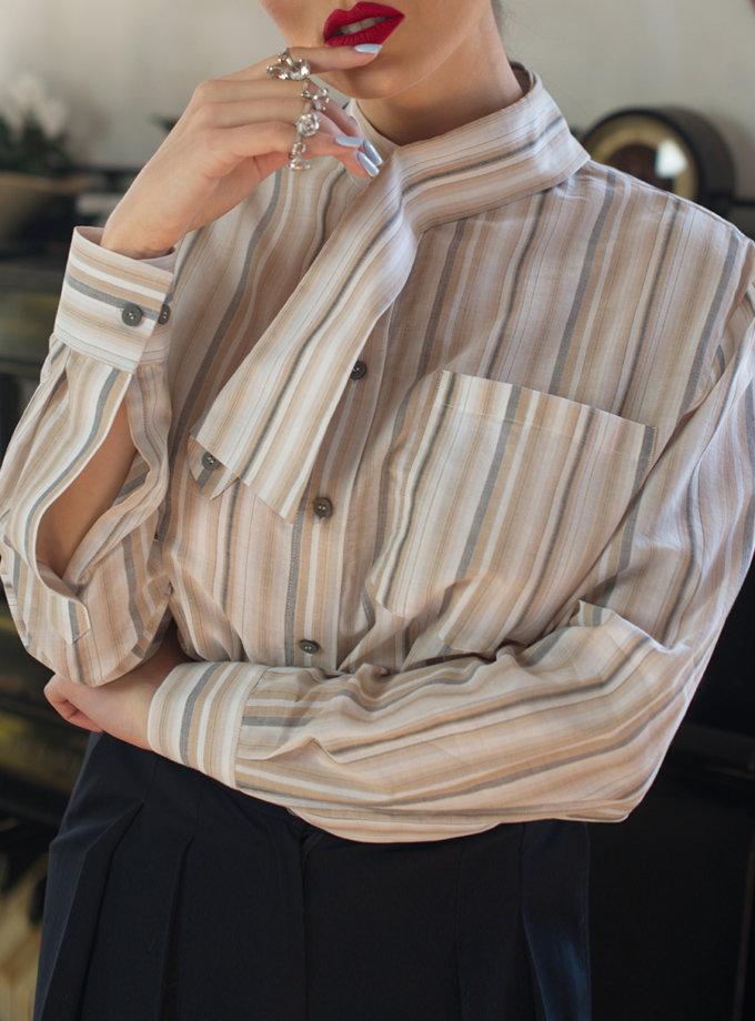Хлопковая рубашка с воротником трансформером SLR_FW21_3, фото 1 - в интернет магазине KAPSULA