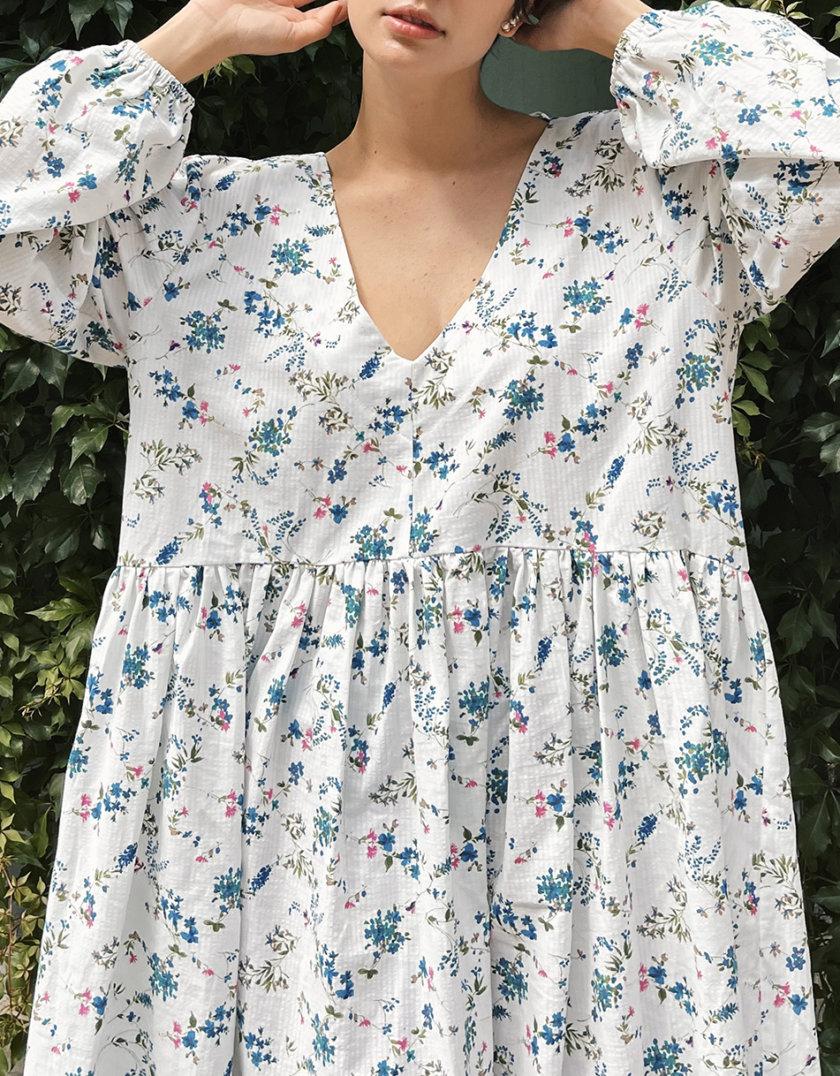 Хлопковое платье свободного кроя NM_390-flowers, фото 1 - в интернет магазине KAPSULA
