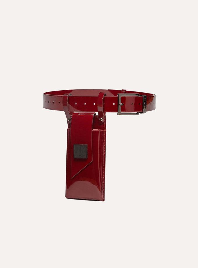 Телефонний ремінь Maryna in patent red LPR_MA-PH-BE-patent red, фото 1 - в интернет магазине KAPSULA