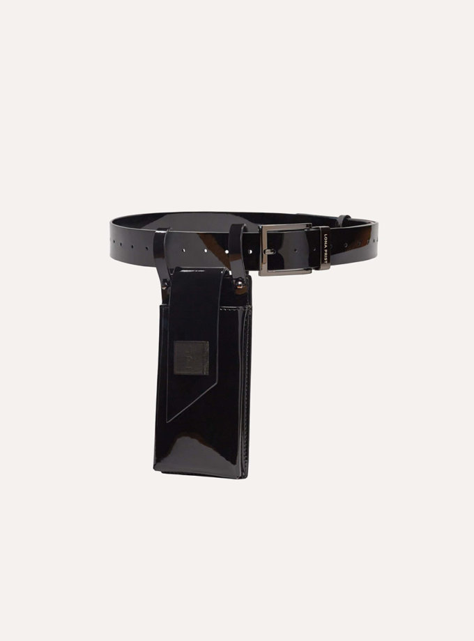 Телефонний ремінь Maryna in patent black LPR_MA-PH-BE-patent black, фото 1 - в интернет магазине KAPSULA