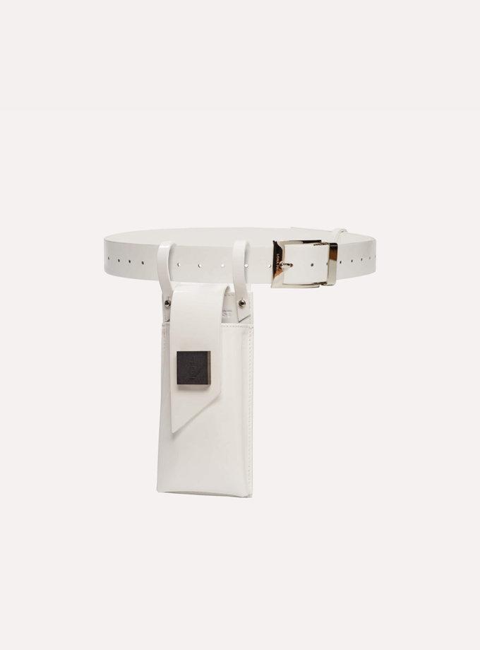 Телефонний ремінь Maryna in patent white LPR_MA-PH-BE-patent white, фото 1 - в интернет магазине KAPSULA