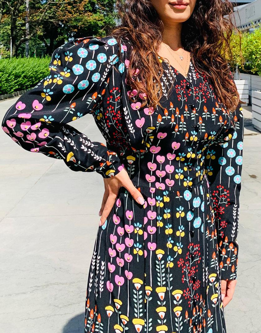Шелковое платье миди RVR_RESS21-2039BKFL, фото 1 - в интернет магазине KAPSULA
