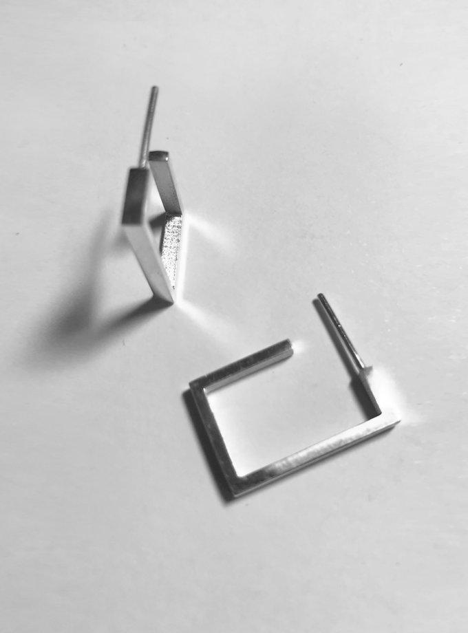 Срібні сережки хупи прямокутні LGV_earings_geometric, фото 1 - в интернет магазине KAPSULA