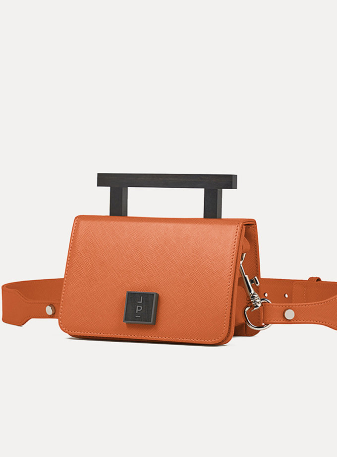 Кожаная сумка Small Nicole Bag in Orange Saffiano LPR_NI-BA-S-Orange, фото 1 - в интернет магазине KAPSULA