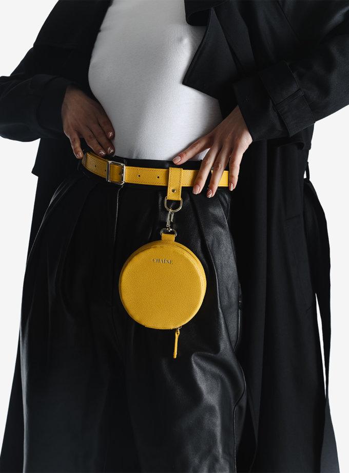Кругла сумка зі шкіри саф'яно yellow CHN_bag_yellow, фото 1 - в интернет магазине KAPSULA