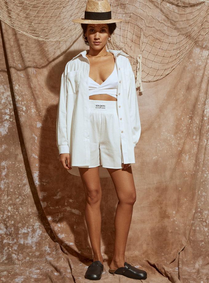 Лляні шорти на резинці KLSV_ss21_4, фото 1 - в интернет магазине KAPSULA