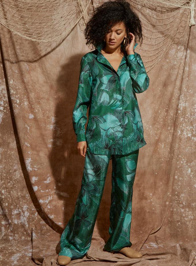 Шелковый костюм с рубашкой и широкими брюками KLSV_ss21_5, фото 1 - в интернет магазине KAPSULA