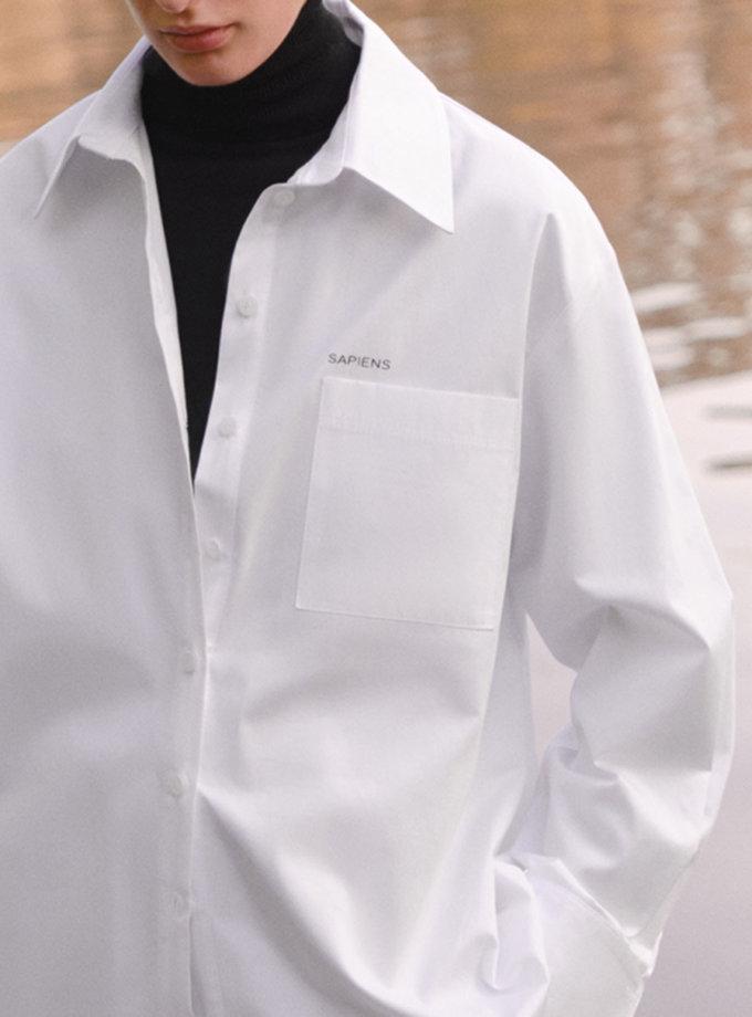 Хлопковая рубашка прямого кроя LAB_2205, фото 1 - в интернет магазине KAPSULA