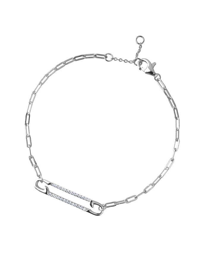 Серебряный браслет с булавкой и фианитами BRND_B6910013, фото 1 - в интернет магазине KAPSULA