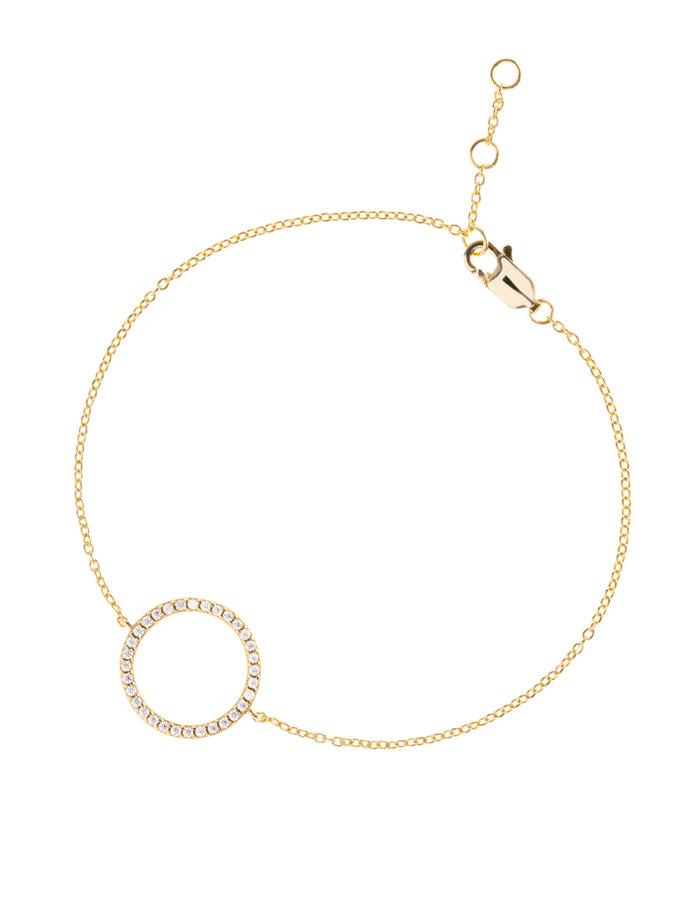 Позолоченный двухсторонний браслет из серебра с фианитами BRND_B6930015, фото 1 - в интернет магазине KAPSULA