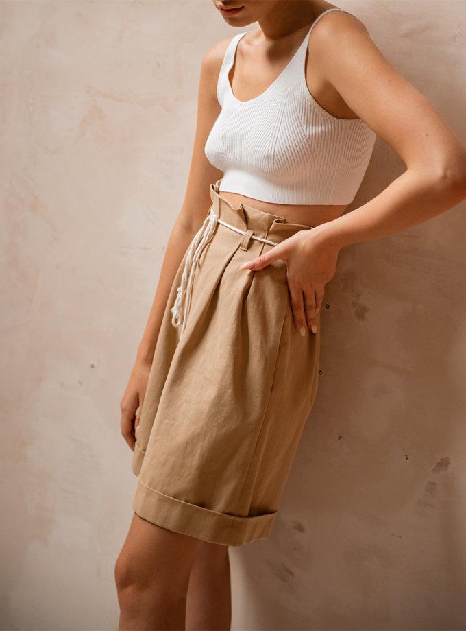 Хлопковый шорты бермуды SHE_shorts_beige, фото 1 - в интернет магазине KAPSULA