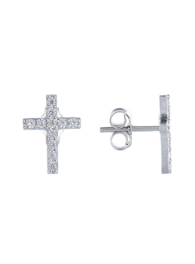 Серебряные серьги-пусеты в форме креста BRND_E66160147, фото 1 - в интернет магазине KAPSULA