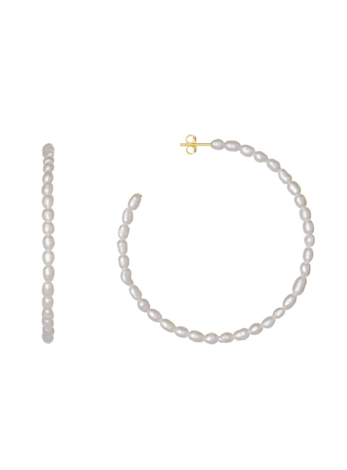 Позолоченные серьги-кольца из серебра с натуральным жемчугом BRND_E69300033, фото 1 - в интернет магазине KAPSULA