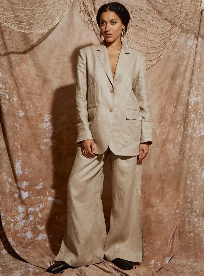 Льняной костюм с широкими брюками KLSV_ss21_2, фото 1 - в интернет магазине KAPSULA