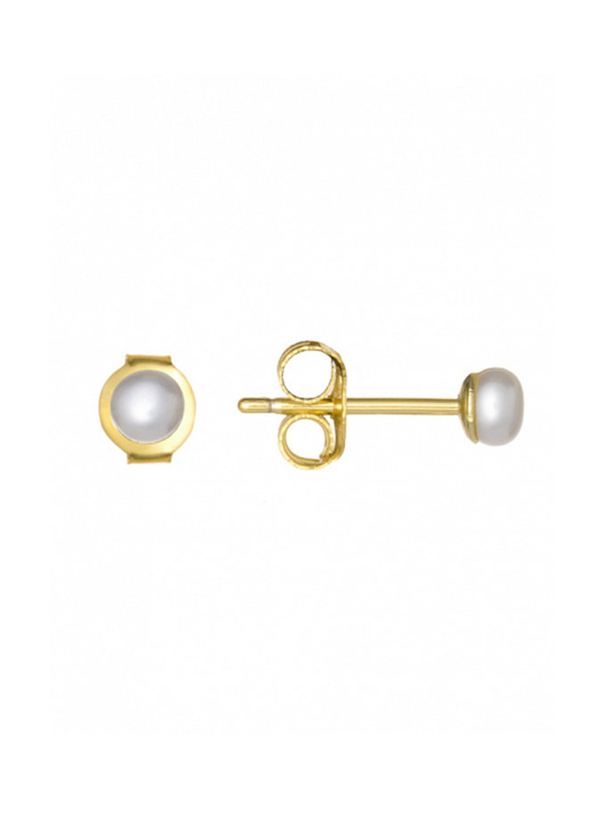 Позолоченные серьги-пусеты из серебра с натуральным жемчугом BRND_E69300040, фото 1 - в интернет магазине KAPSULA