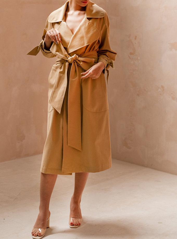 Хлопковый тренч с поясом SHE_trench_beige, фото 1 - в интернет магазине KAPSULA
