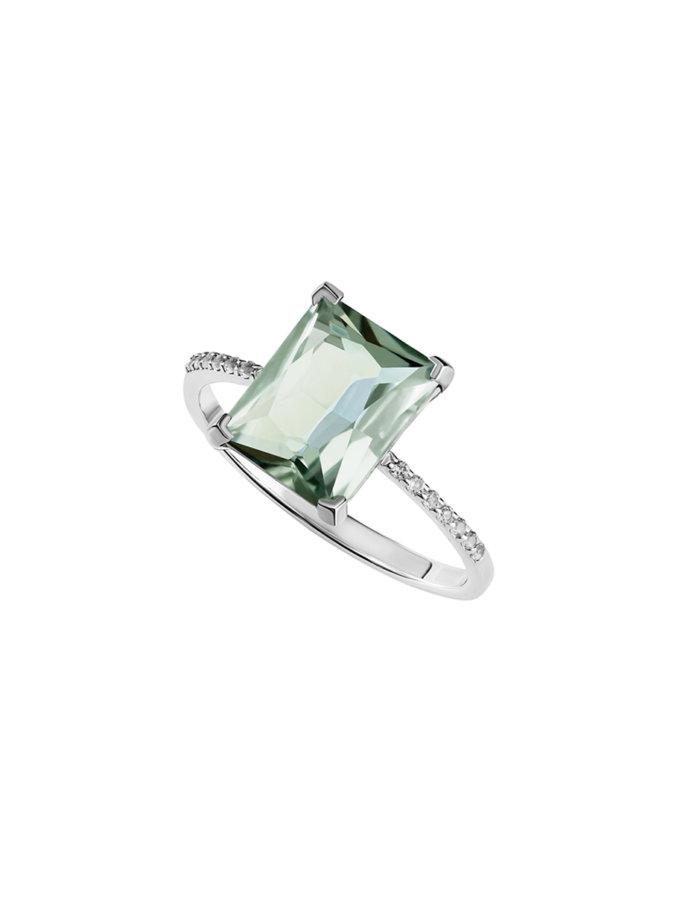 Кольцо с зеленым аметистом и дорожкой белых топазов BRND_KZADBTC00017, фото 1 - в интернет магазине KAPSULA