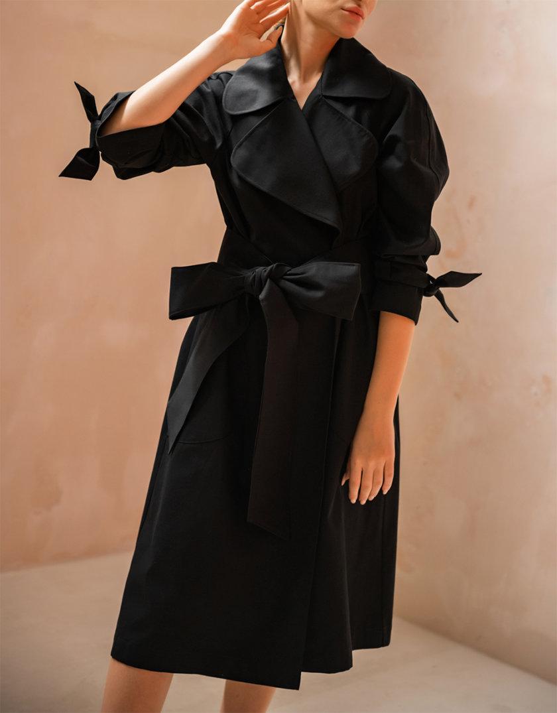 Хлопковый тренч с поясом SHE_trench_black, фото 1 - в интернет магазине KAPSULA