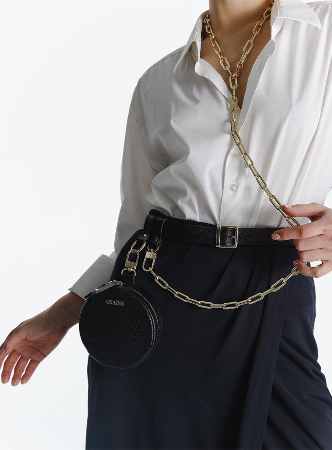 Кругла сумка зі шкіри саф'яно black CHN_bag_black, фото 1 - в интернет магазине KAPSULA