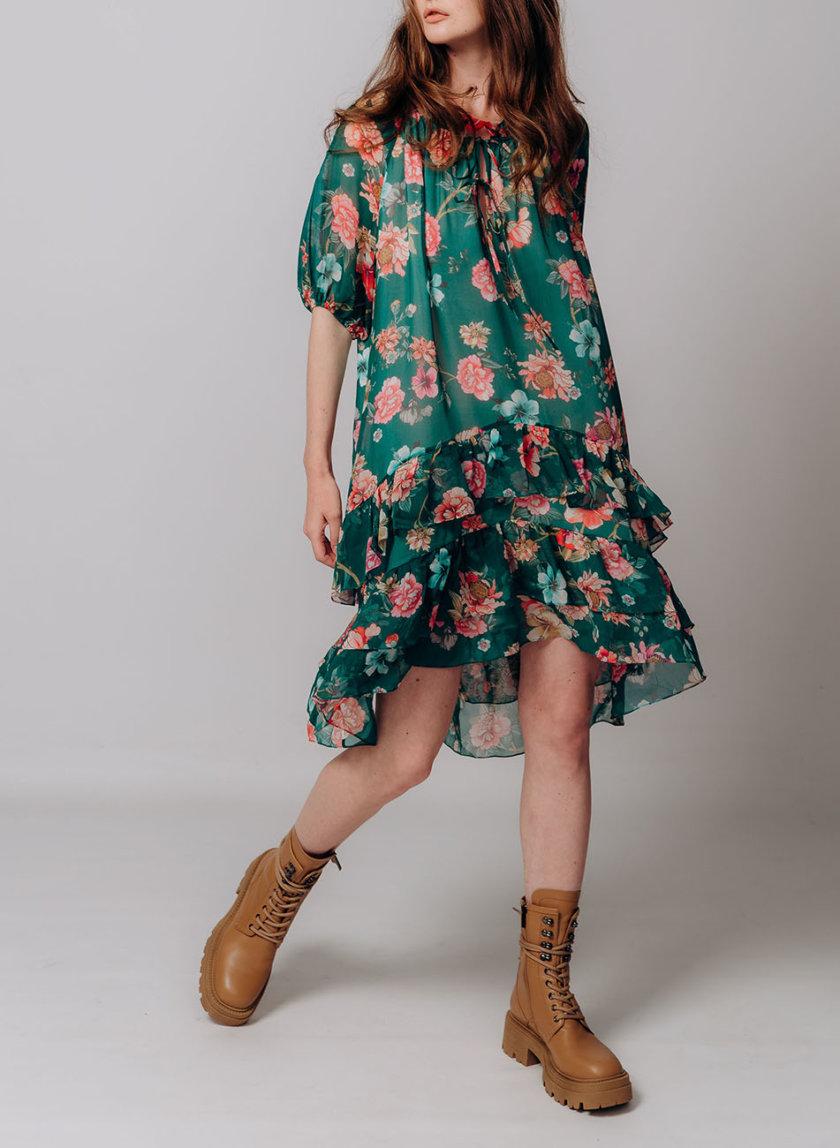Платье из шелка в цветы BETH_BD_pre-fall2021_1, фото 1 - в интернет магазине KAPSULA