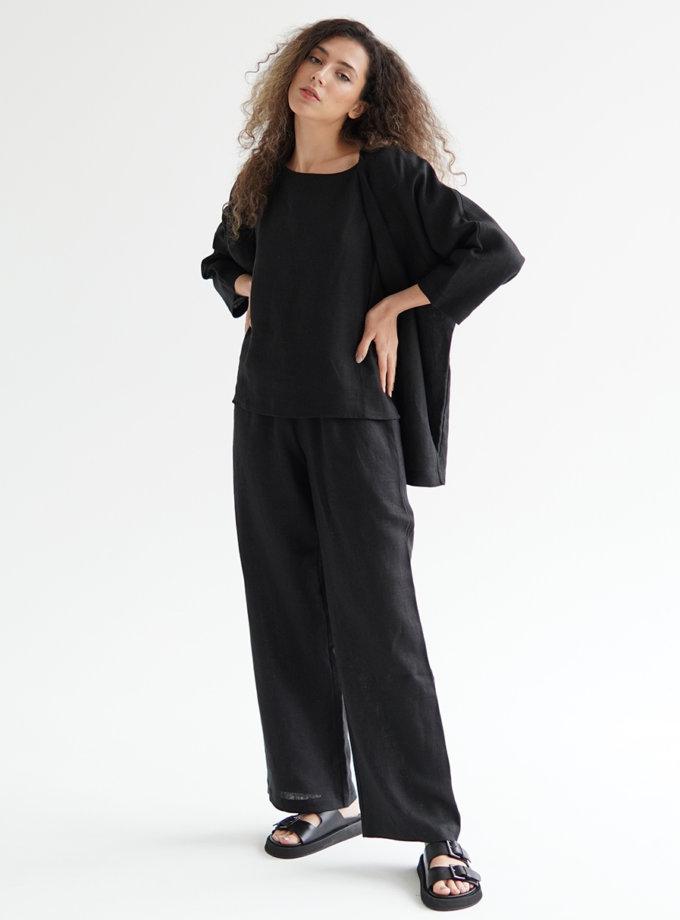 Льняний костюм з брюками ETP_ EWtr-linen-black, фото 1 - в интернет магазине KAPSULA