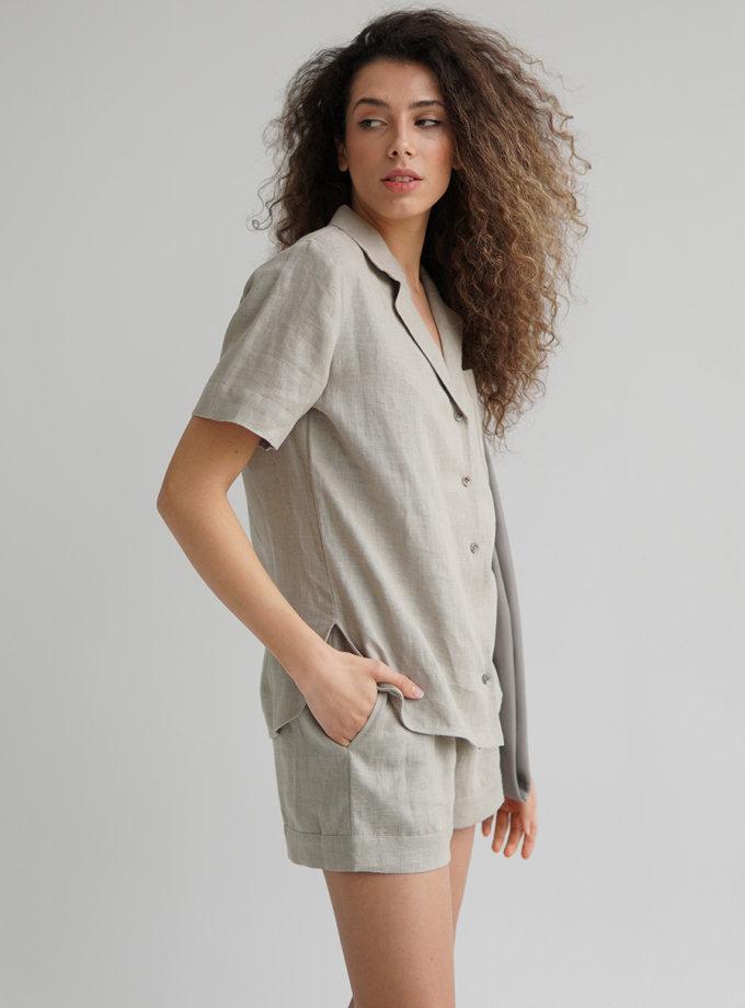 Льняной костюм с шортами ETP_EW suit-linen-olive, фото 1 - в интернет магазине KAPSULA