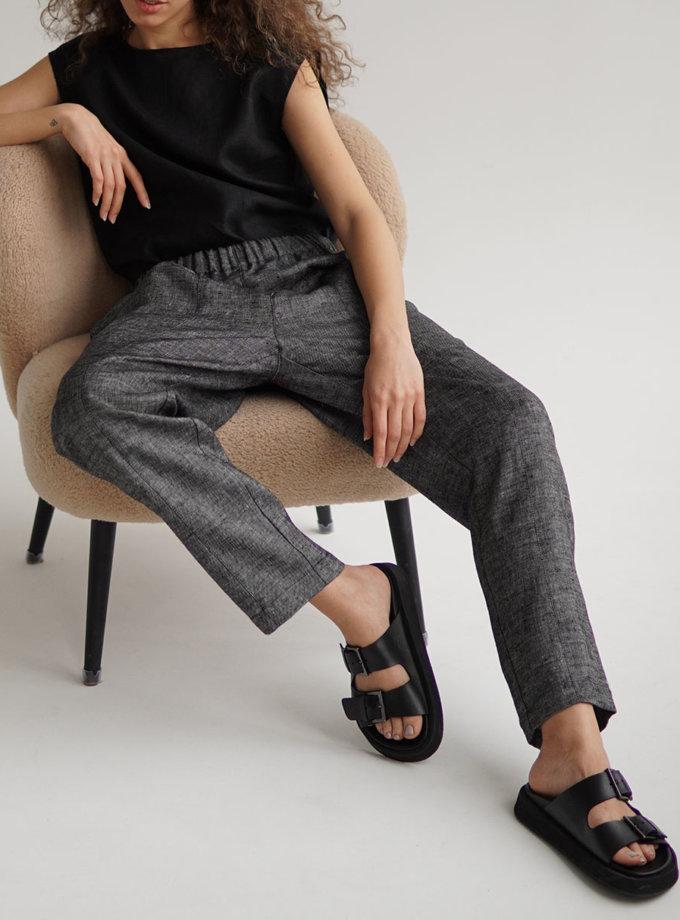 Льняные брюки ETP_ EWtrblack, фото 1 - в интернет магазине KAPSULA