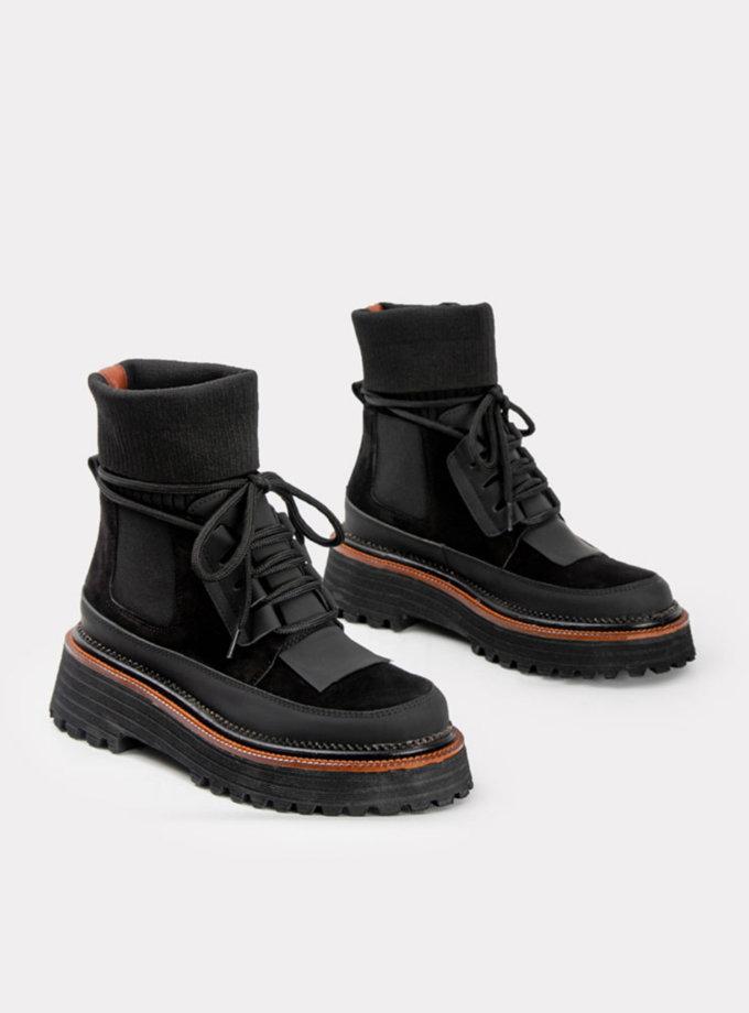 Кожаные ботинки замшевыми вставками CRS_fw21_21-01502, фото 1 - в интернет магазине KAPSULA