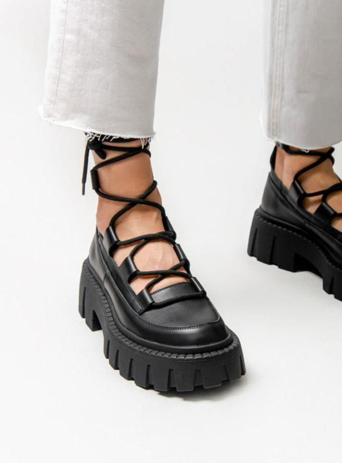 Шкіряні туфлі з зав'язками CRS_fw21_21-01645, фото 1 - в интернет магазине KAPSULA