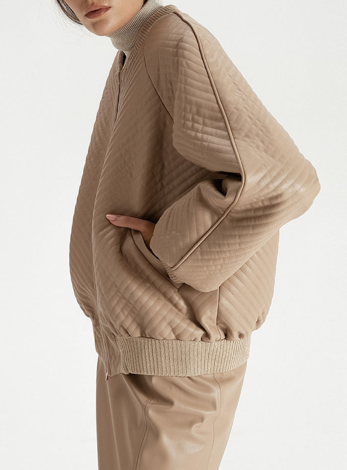 Бомбер из эко-кожи beige WNDR_fw21_elb_01, фото 1 - в интернет магазине KAPSULA