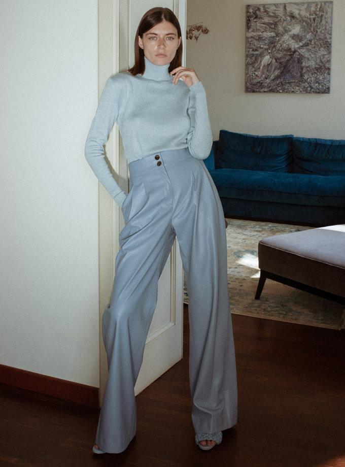 Брюки-палаццо з еко-шкіри grey-blue WNDR_fw21_elbl_02, фото 1 - в интернет магазине KAPSULA