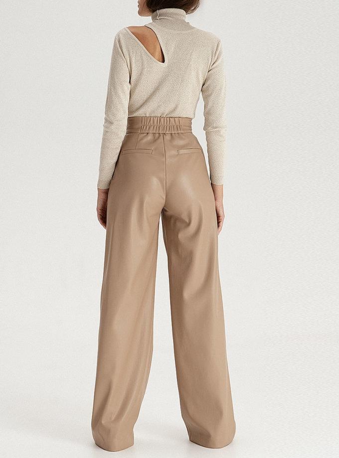Брюки-палаццо з еко-шкіри beige WNDR_fw21_elb_02, фото 1 - в интернет магазине KAPSULA