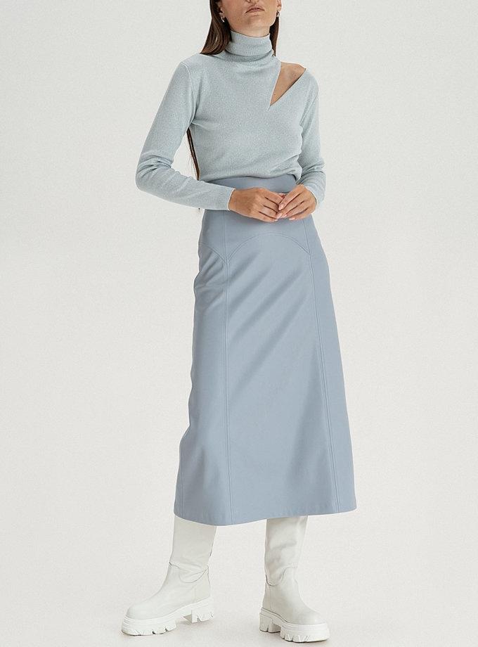 Спідниця міді з еко-шкіри grey-blue WNDR_fw21_elbl_06, фото 1 - в интернет магазине KAPSULA