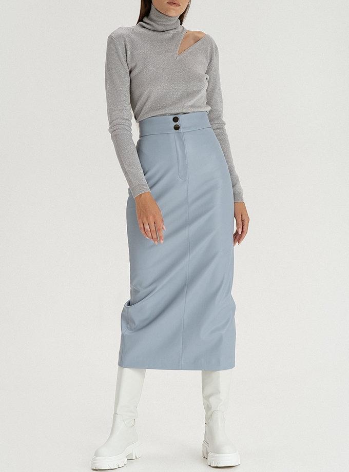 Cпідниця з еко-шкіри grey-blue WNDR_fw21_elbl_03, фото 1 - в интернет магазине KAPSULA