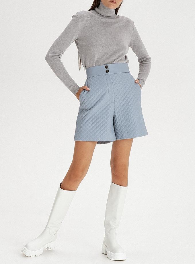 Стьобані шорти з еко-шкіри grey-blue WNDR_fw21_elbl_05, фото 1 - в интернет магазине KAPSULA