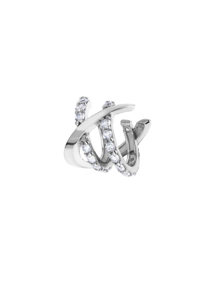 Срібний Кафф з фіанітами Happy Moment BRND_E66110046, фото 1 - в интернет магазине KAPSULA