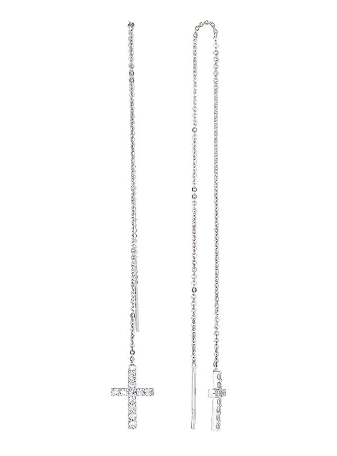Серьги-цепочки с крестом из серебра BRND_E66120101, фото 1 - в интернет магазине KAPSULA