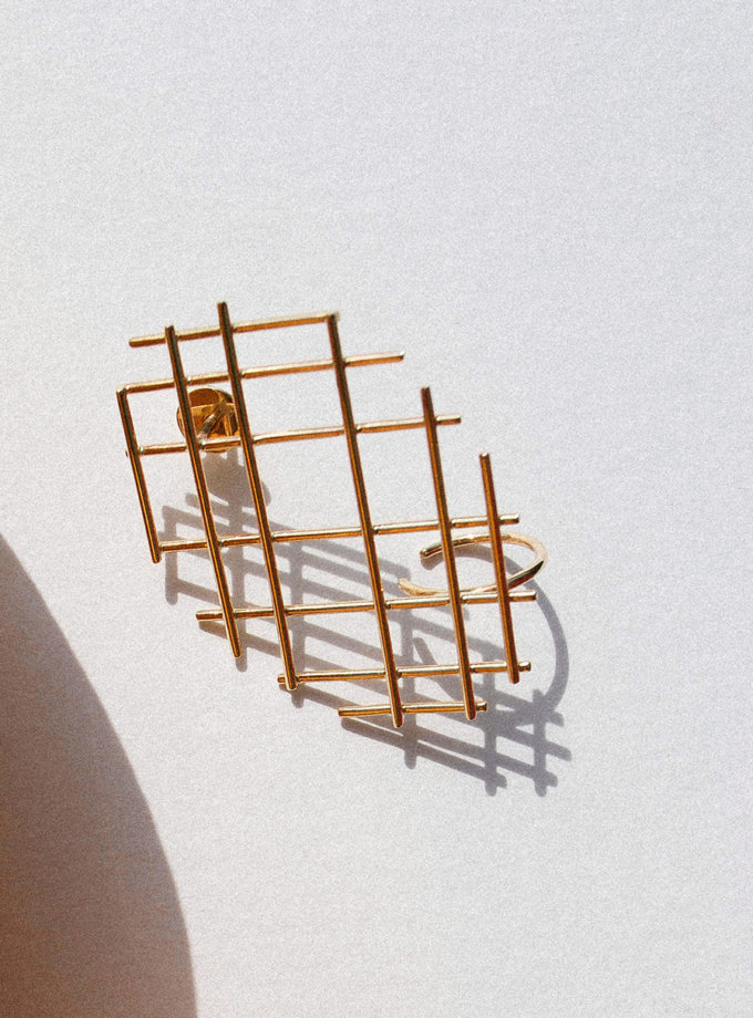 Моносерьга с желтого золота RAJ_ERA-022, фото 1 - в интернет магазине KAPSULA