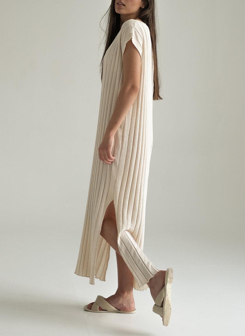 Хлопковое платье с фактурной вязкой FRBC_Fbkndress_beage, фото 1 - в интернет магазине KAPSULA
