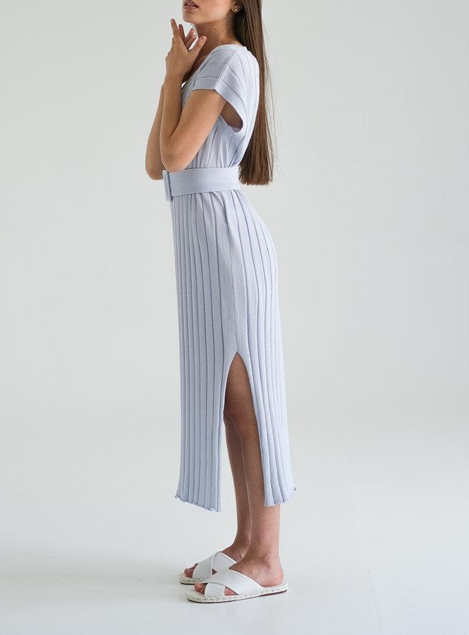 Хлопковое платье с фактурной вязкой FRBC_Fbkndress_blue, фото 1 - в интернет магазине KAPSULA