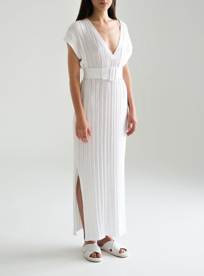 Хлопковое платье с фактурной вязкой FRBC_FBsuit_lin_wt-1, фото 1 - в интернет магазине KAPSULA
